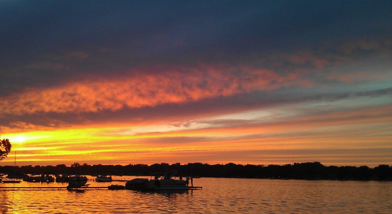 Sunset over Crystal Lake lake.