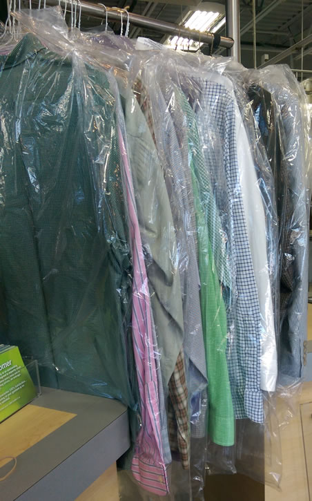 Shirts...clean, crisp, bagged, and ready to go home