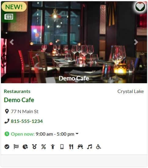 Demo business listing card.