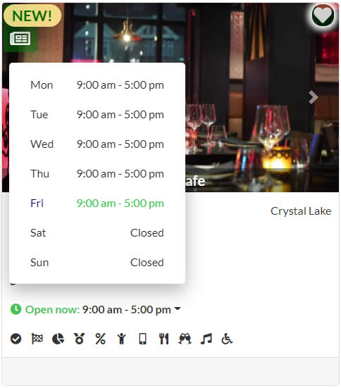 Demo business listing card showing daily business hours.