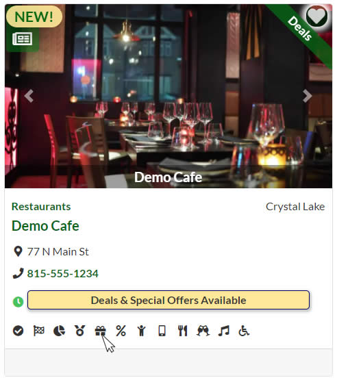 Demo listing card showing Deals banner along with Deals & Special Offers Available icon and hover tooltip.