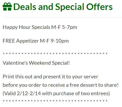 Example of Special Offers added to listing.