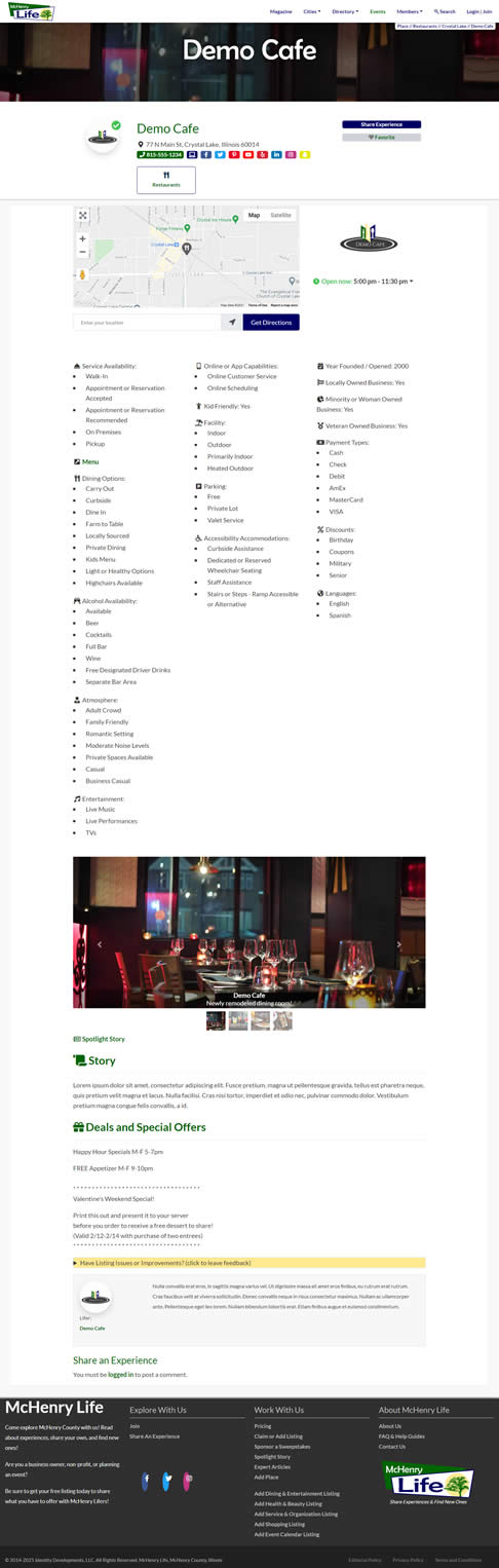 Demo of listing page.
