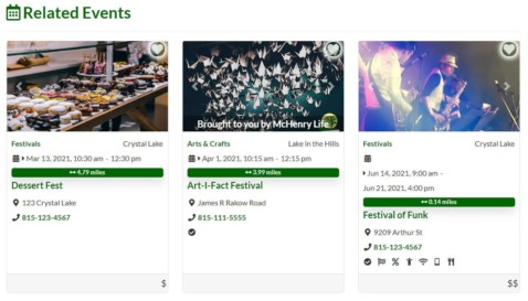 Demo of Related Events on listing page.