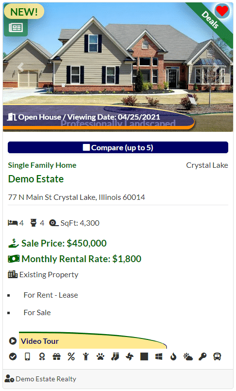 Demo real estate listing card with Video Tour flag.