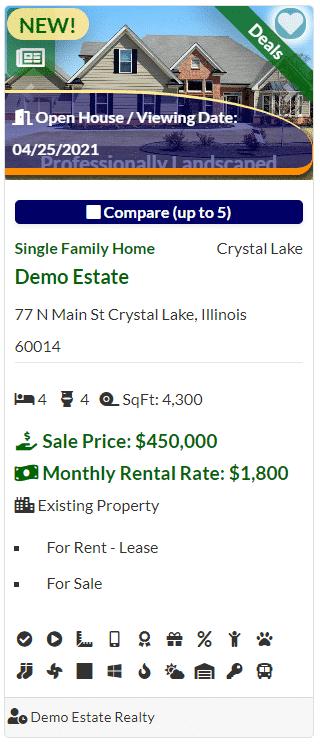 Demo real estate listing card.