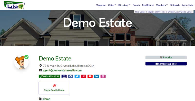 Demo real estate listing contact details.