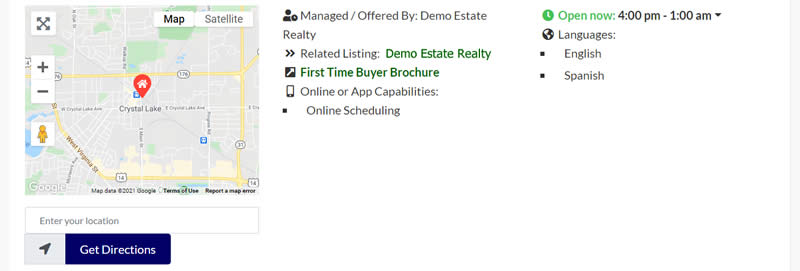 Demo real estate listing map and agent information.
