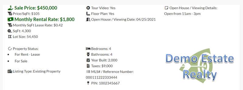 Demo real estate listing transaction details.