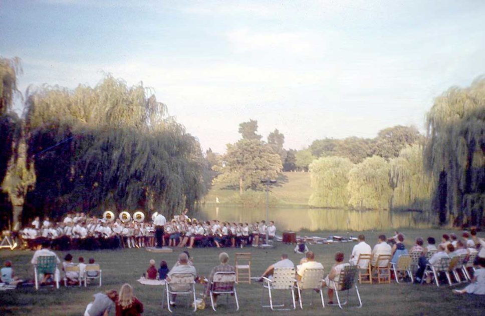 Concert in Veteran Acres Park near the pond from the 70s.