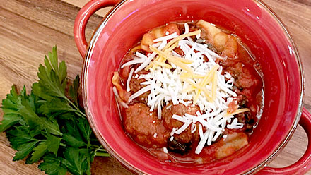 Lasagna Soup with Meatballs from Just Crock It.