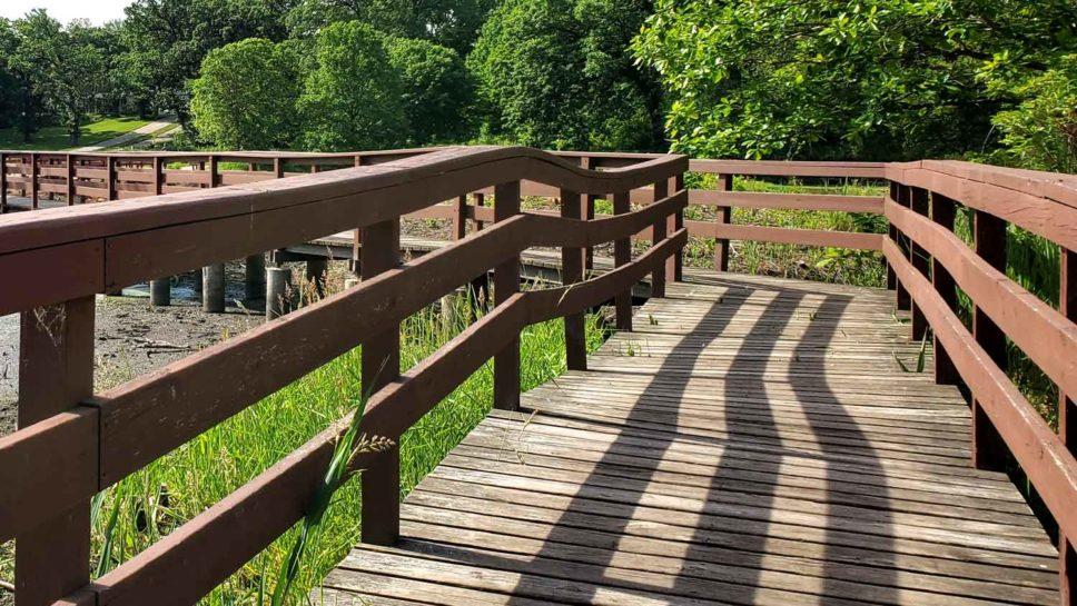 Wooden bridge over marsh at ponds edge at Veteran Acres Park.