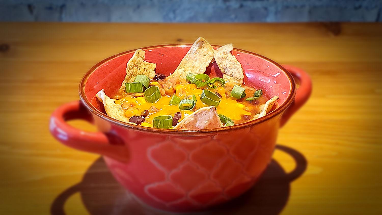Vegetarian Lentil Tortilla soup from Just Crock It.