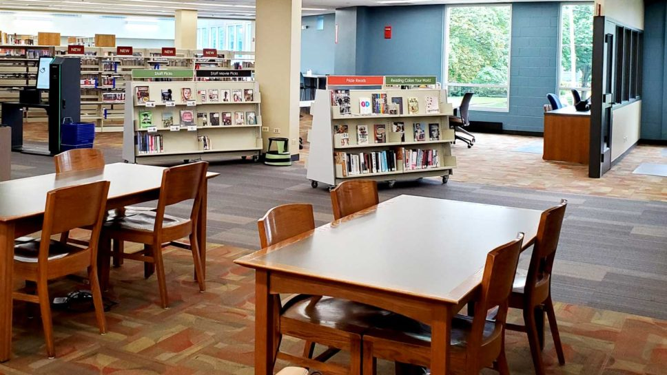 More open space in the main area at the Crystal Lake Public Library.