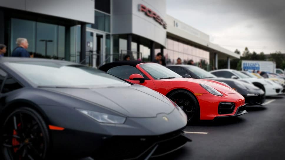 Lamborghini and Porsches at Motor Werks Cars & Coffee 2021.