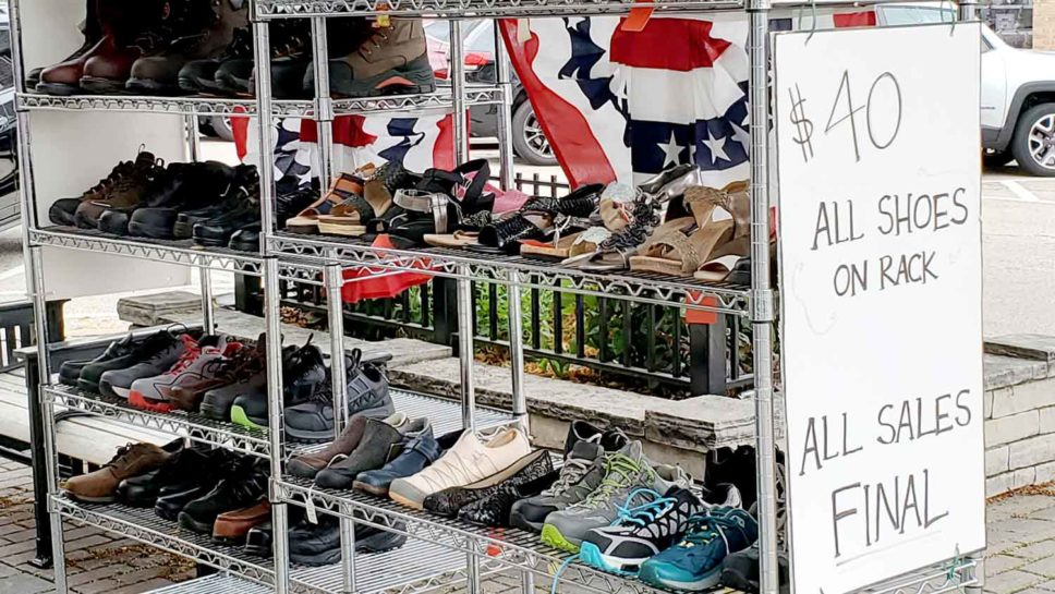 Heisler's Bootery's $40 shoes rack.
