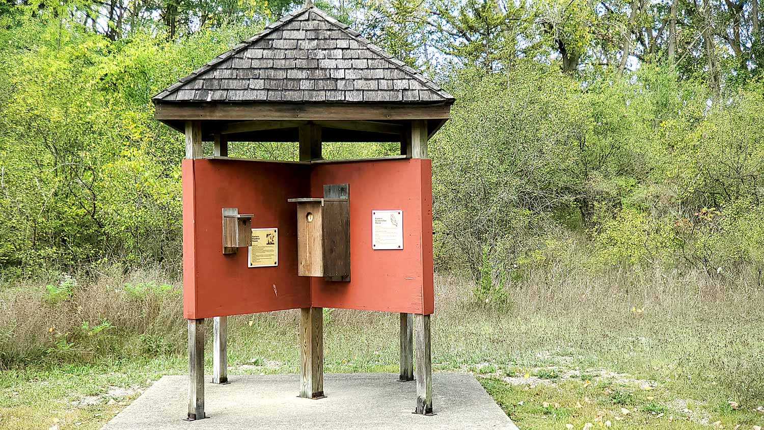 Exhibit of various bird and animal houses at The Hollows.