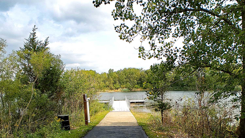 Fishing pier at Lake Atwood at The Hollows.