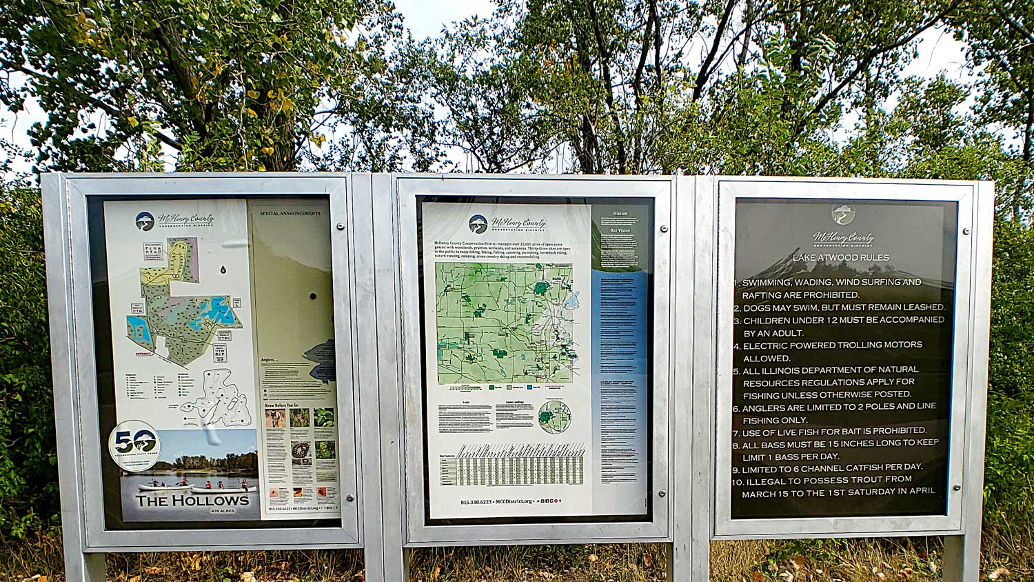 Trail maps and information for The Hollows, McHenry County Conservation District map, and Lake Atwood rules.