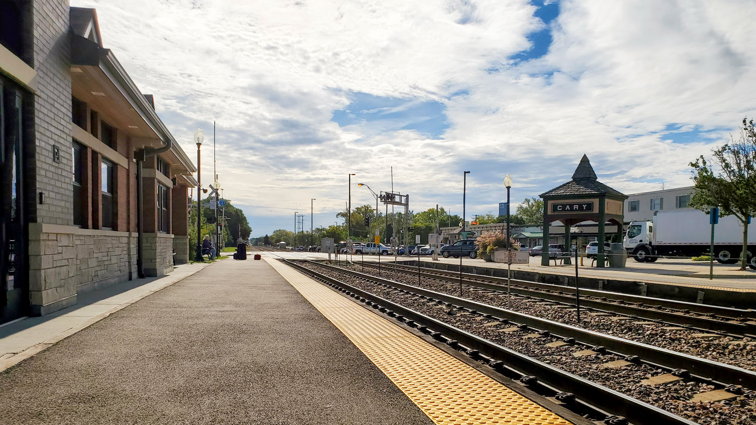 The Cary Metra Station sits on the Chicago inbound side.