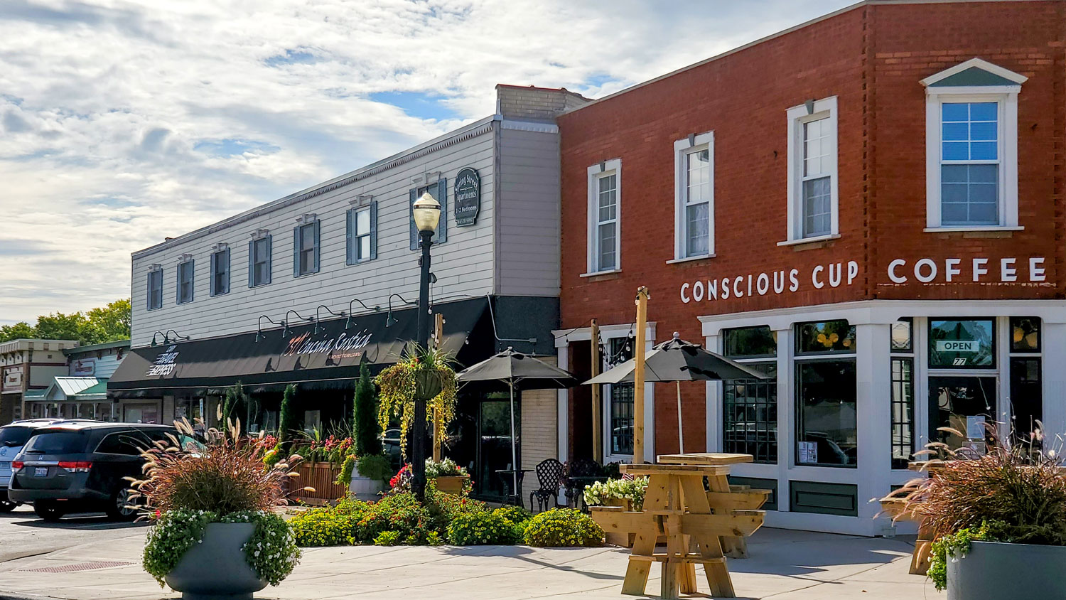 Dining, shopping, and services within walking distance of the Cary Metra Station.