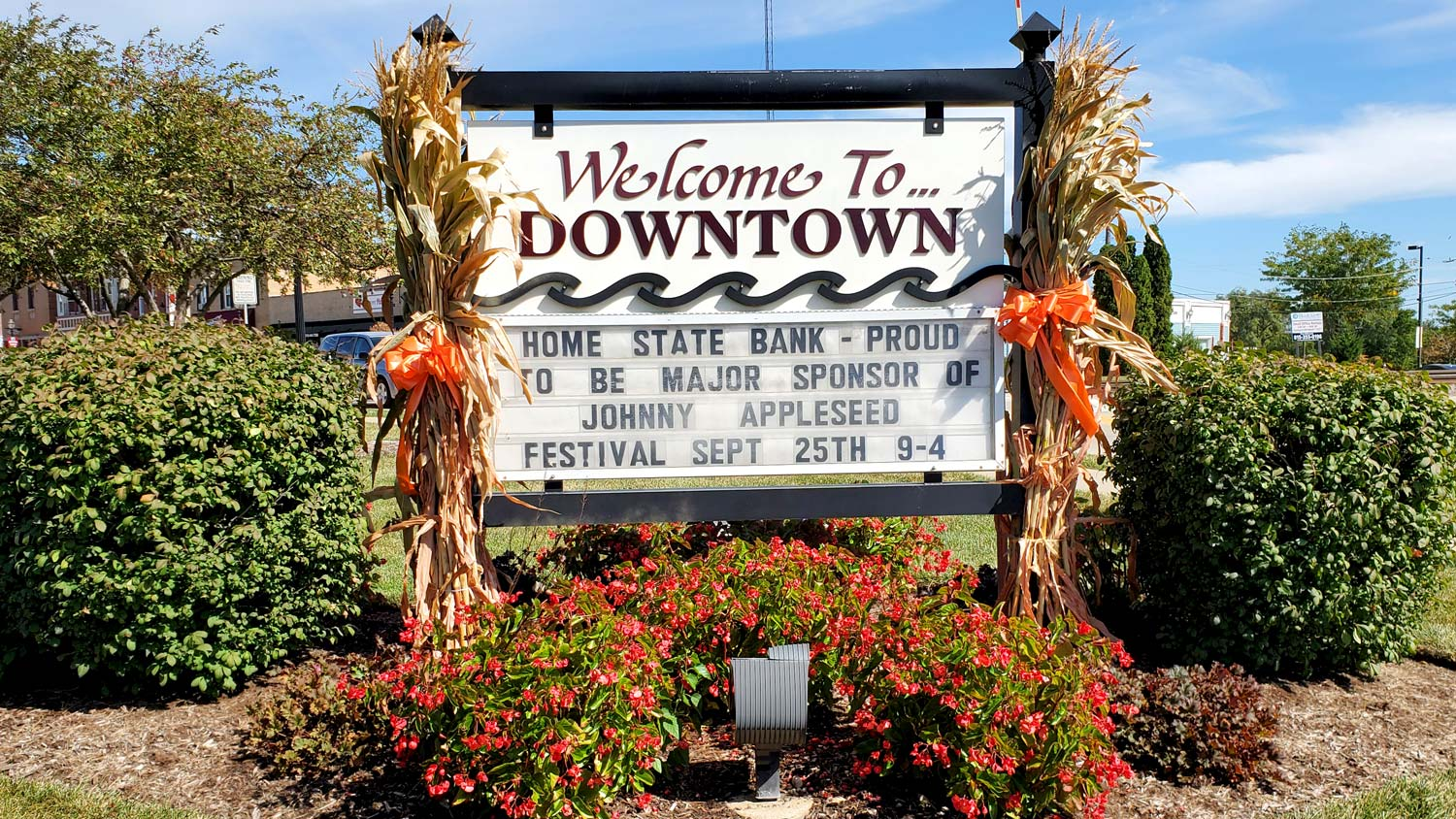 Downtown welcome sign.