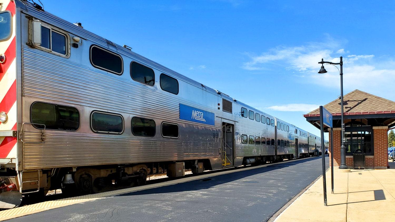 Metra train in Crystal Lake.