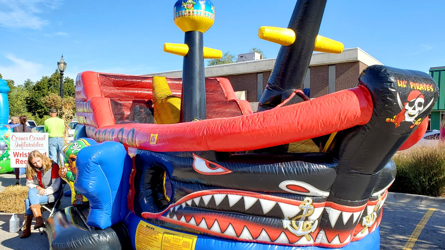 Inflatable pirate ship.